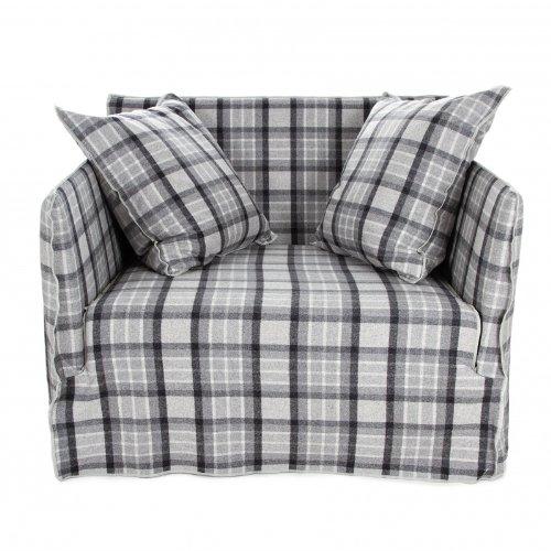 Gervasoni Ghost 09 Lounge Sessel, grau kariert Stoff Scozia Grau Inkl. 2 Rückenkissen Dracon Daunen