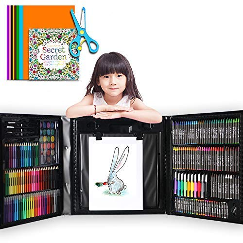 Deluxe Art Set for Kids, DIY Arts and Crafts, Ideal Educational Toy and Creativity Kit - 176 Pieces Drawing Art Box with Origami Paper, Card Stocks, Oil Pastels, Crayons, Markers, Best Gift for Kids