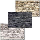 GREAT ART Juego de 3 carteles XXL – paredes de piedra – beige negro blanco pizarra diseño industrial mampostería moderna decoración de fondo mural póster cada uno 140 x 100 cm