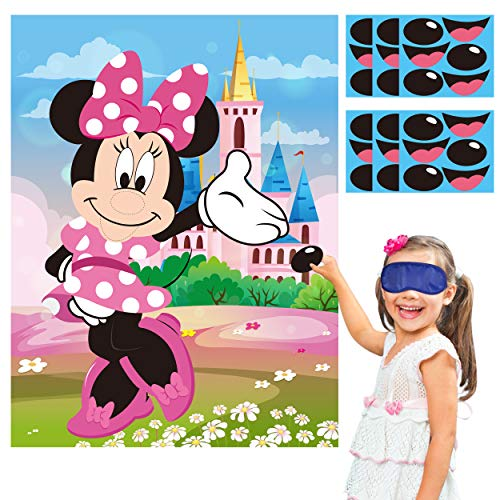 PANTIDE Pin The Nose and Mouth on Minnie Party Game, Make-a-Face Sticker Games with Large Poster and Blindfolds, Fun Outdoor Indoor Activity for Kids Minnie Themed Birthday Party Decoration Supplies