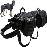 DHGTEP Arnés Militar Táctico para Perros K9, Chaleco de Servicio para Perros Militares, con Juego de Bolsas y Bolsillos para Cosas Pequeñas para Viajeros (Color : Black, Size : M)