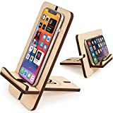 WoodenCrew Foldable and Flip Cell Phone Tablet Stand, Universal Wooden Charging Cool Desk Phone Dock, Natural Wood Office Smart Phone Holder, Gadgets for Men Electronics