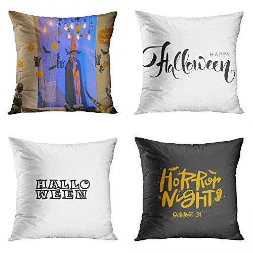 Qryipd Set of 4 Throw Pillow Covers Happy Halloween Weekends Quotes Black White Calligraphy Phrase Word Print Living Room Car Sofa Bedroom Polyester Pillowcases Home Decor Cushion Cases 16x16 Inch
