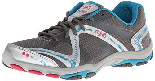Ryka Women's Influence Cross Training Shoe, Steel Grey/Chrome Silver/Diver Blue/Zuma Pink, 7.5 M US