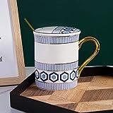 HRDZ Taza Taza de cerámica Simple para el hogar con Tapa Cuchara Pareja Creativa Taza de Agua Taza de café
