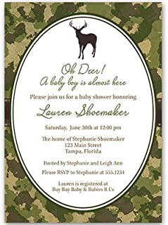 Camo Invitations Baby Shower Bridal Wedding Party Birthday Sprinkle Oh Deer Oh Dear Camouflage Hunting Hunter Outdoors Lumberjack Customize For Any Event (10 count)