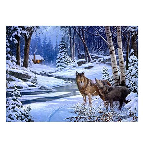 Yuanshenortey Pintura por números, para adultos, animales, lobo, niños, bricolaje, pintura al óleo, 16 x 20 pulgadas, sin marco