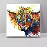 Geiqianjiumai Arte Highland Ganado Animal Pintura al óleo Color Lienzo Arte de la Pared Sala de Estar decoración Pintura sin Marco 70x70cm