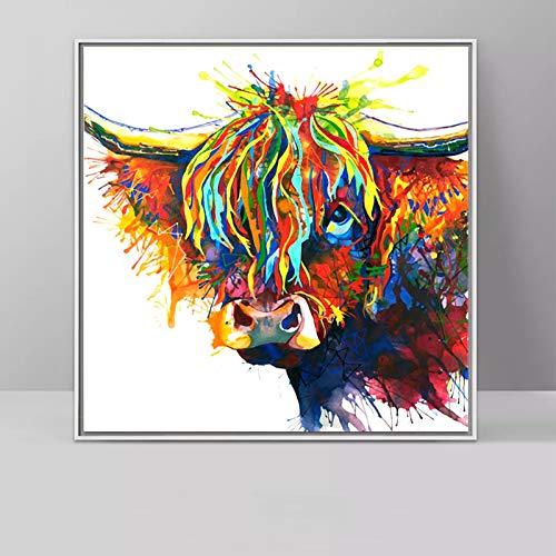 Geiqianjiumai Arte Highland Ganado Animal Pintura al óleo Color Lienzo Pared Arte Sala decoración sin Marco Pintura 60x60cm