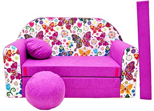 Pro Cosmo M33 Kinder Schlafsofa mit Sitzwürfel, Fußhocker, Kissen, Stoff, Dunkelviolett, 168 x 98 x 60 cm, Baumwolle