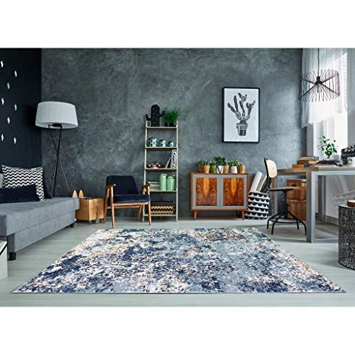 Persian Rugs 6490 Blue 5 x 7 Abstract Modern Area Rug
