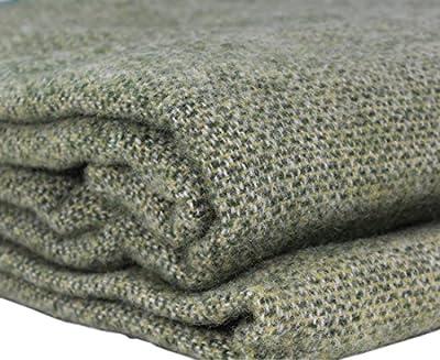 "Biddy Murphy Irish Wool Blanket 90"" Wide x 108"" Long 100% New Wool Made in Ireland Green"