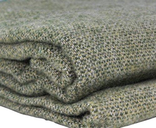 "Biddy Murphy Lambs Wool Blanket Irish Made in Ireland Wool Blanket King Size 90"" Wide x 108"" Long Wool Comforter Blanket Wool Soft Crafted in Co. Kerry by Kerry Woollen Mills Green"