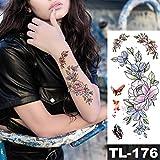 adgkitb 4 Piezas Rosa Oscuro línea Simple Texto Falso Tatuaje Temporal Pegatinas Rosa Flores Brazo Hombro Tatuaje Impermeable Mujeres 08-TL176 19X9 cm
