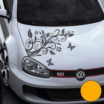 A456 Blumenranke Autoaufkleber 3 Schmetterlinge 77cm X 50cm Graphit Farb Größenwahl Auto