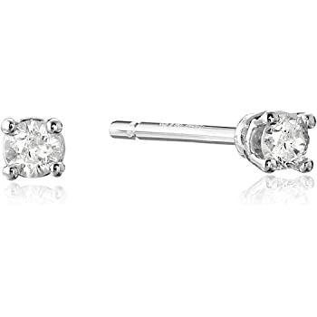 10k Gold Round Cut Diamond Studs (1/10 cttw, J-K Color, I3 Clarity)