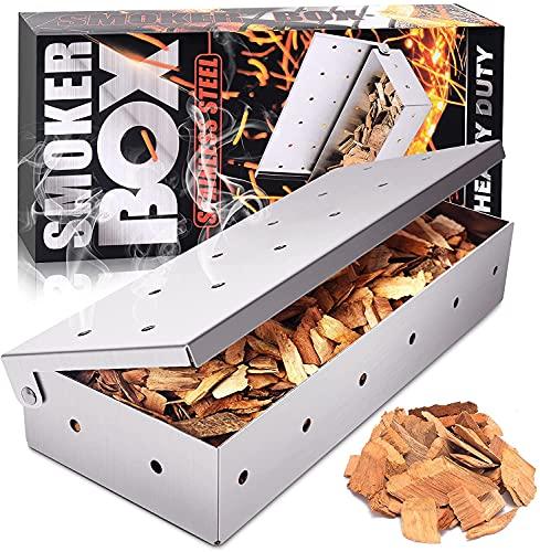 Love begans Räucherbox, Hochwertiger Smokerbox aus Rostfreiem Edelstahl, Räucherkasten Grillzubehör für Feinste Raucharomen für Gasgrill, Kohlegrill, Holzkohlegrills & Kugelgrill