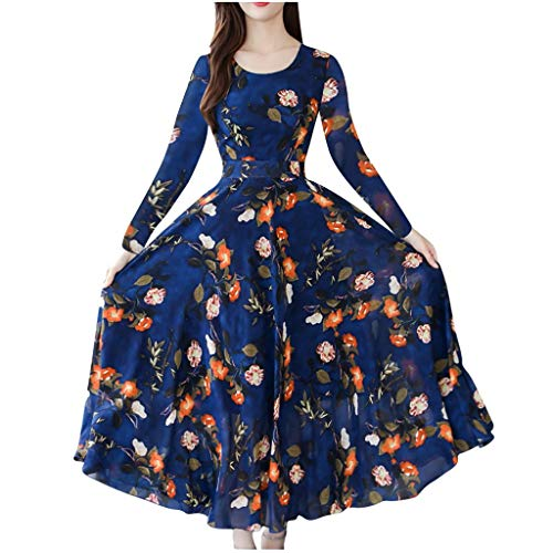 Auifor vrouwen werk dames herfst elegante O-hals knielange print-jurk