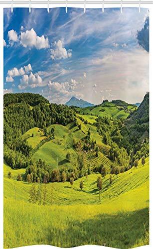 ABAKUHAUS Landschaft Schmaler Duschvorhang, Toskana Italien Bauernhöfe, Badezimmer Deko Set aus Stoff mit Haken, 120 x 180 cm, Himmelblau Apfelgrün