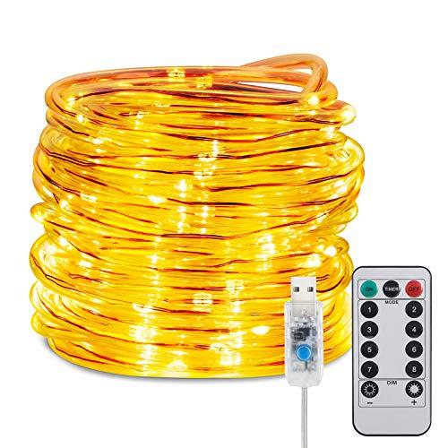 LED Schlauch 12M, Gobesty 200 LED Lichterschlauch Wasserdicht USB LED Kupferdraht Lichterkette mit 8 Modi &Timer Fernbedienbar für Innen Außen Weihnachten Party Balkon Hochzeit Garten Deko(Warmweiß)