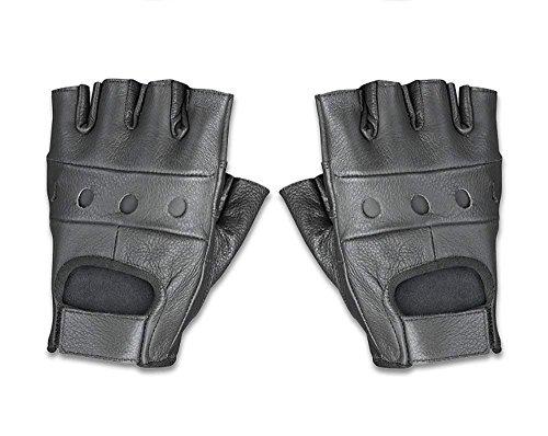 Raider BCS-500 Leather Fingerless Men's Motorcycle Premium Driving Gloves (Black, Large)