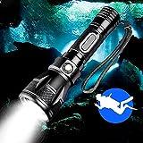 WESLITE Linterna de Buceo Recargable, Linterna de Buceo Potente 1800 Lúmenes Luz de Buceo Submarino 100M Linterna Impermeable IPX8 Profesional 4 Modos con Batería y Cargador
