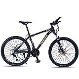 DJYD Erwachsene Mountain Bikes, 26-Zoll-High-Carbon Stahlrahmen Hardtail Mountainbike, Vorderachsfederung Herren Fahrrad, Gelände Mountainbike, Gold, 24-Gang FDWFN (Color : Gold, Size : 24 Speed)