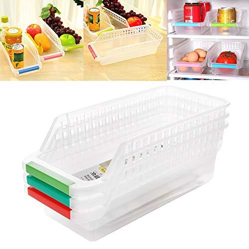Cocina refrigerador cajón estante de almacenamiento creativo deslizante organizador de ahorro de espacio, contenedor de almacenamiento de plástico para congelador, soporte para alimentos