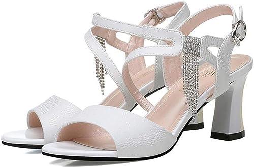 WYYY Chaussures Sandales Femmes Boucle avec La Mode Strass Sandales à Talons Hauts Chaussures De Marée à Bout Ouvert (Couleur   Blanc, Taille   EU 37 UK 4.5-5 CN37)