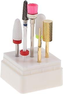 7ピースプロフェッショナルセラミックネイルアート研磨ヘッド電気ドリルビット3/32インチロータリーファイルロータリーファイルトップ研削グリット付きボックス
