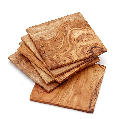 "NATUREHOME Coaster Set of 6 - Solid Olive Wood - 3.5"" by 3.5"""