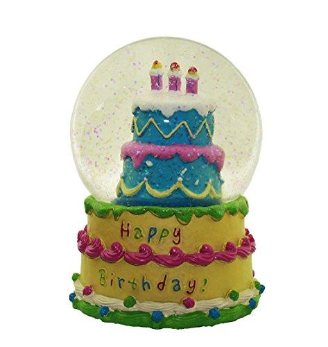 HAAC Schüttelkugel Happy Birthday mit Musik und Glittern Größe 15 cm x 10 cm