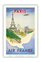 パリ、フランス - エッフェル塔 - エールフランス - ビンテージな航空会社のポスター によって作成された レジス・マンセット c.1947 - アートポスター - 31cm x 46cm