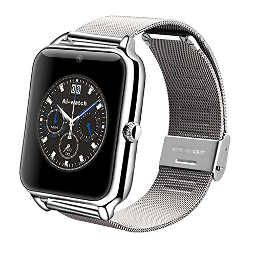 Metallica Orologio Bluetooth NFC Intelligente Ormeggio Braccialetto Smart Watch Compatibile con iOS, Android Smartphone Carico Chiamata Messaggio SIM Per Smartphone (iOS, Android, con 2 Batterie