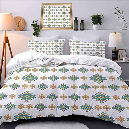 UNOSEKS LANZON Bedspreads Coverlet Pastel Colored Unique Hexag Celtic Motifs White Background Irish Beautiful Duvet Cover Color Has Held-Up After a Few Washes - King Size