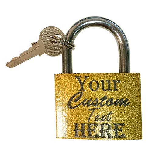 Custom Personalized Brass Keyed Pad Lock 3D Laser Engraved with Your Custom Instructions - for Lockers, Doors, Gym, Security, Couples, Necklaces, Key Chain (Medium)