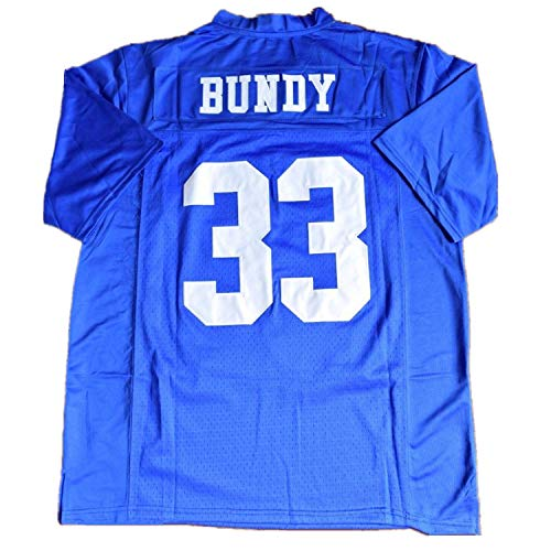 Mens Married with Children Al Bundy #33 Polk High Football Jersey Stitched Blue S-3XL (Small)