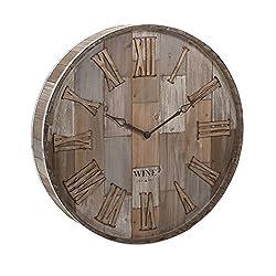 Imax 83457 Wine Barrel Wood Wall Clock, Natural