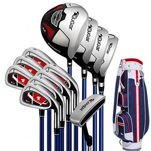 AYES Herren Golfschläger-Set Junior Golfschläger Set mit Titan Driver, Fairway Woods, Hybrid, Eisen, Putter, Stand Bag (12 Carbon Schäfte Standard Tasche)