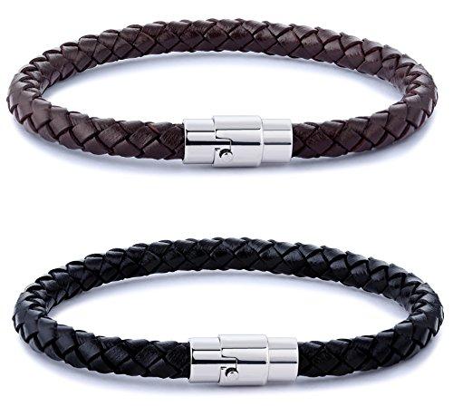 FIBO STEEL 2PCS Stainless Steel Braided Leather Bracelet for Men Women Wrist Cuff Bracelet 8.5 inches