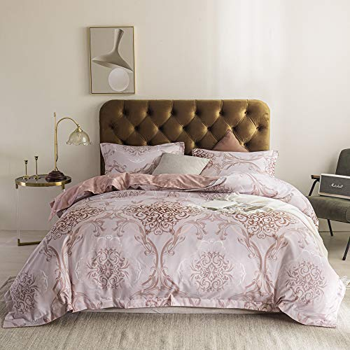 Simple&Opulence 100% Polyester Duvet Cover Set Queen with Zipper Closure,Lightweight Reversible Floral Microfiber Bedding with 1 Comforter Cover and 2 Pillowshams( Pinkish )