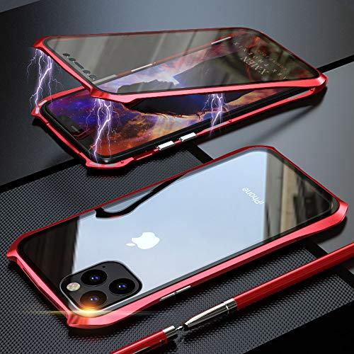 Coque pour iPhone 11 Adsorption Magnétique Housse,Conception de Style Batman Double côtés Transparent Verre Trempé Etui Métal Cadre 360 degrés Antichoc Cover Case - Rouge
