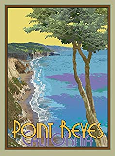 Point Reyes, California-Art Deco Style Vintage Travel Poster-by Aurelio Grisanty