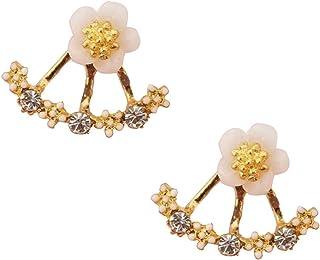 18K White Gold Plated Crystal Flowers Stud Earrings for Women Jacket Earrings for Women Girls