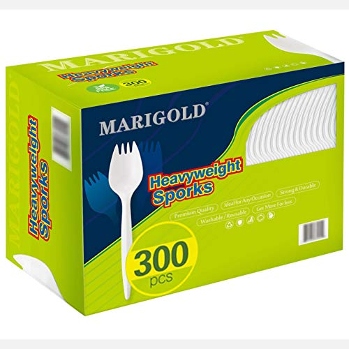 Mediumweight 300Pk Disposable Sporks BPAFree  MARIGOLD Recyclable cutlery EcoFriendly and KidSafe Utensils Great for School Lunch Picnics or Restaurant and Party Supply Spoons and Forks