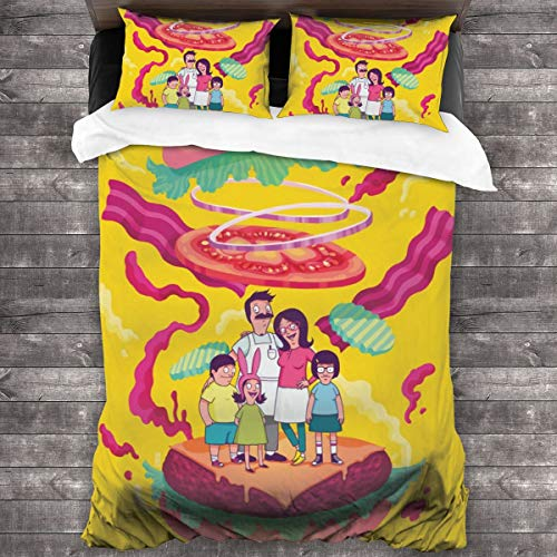3 Pieces Bobs_Burgers Bedding Sets Bed Comforter Set 86x70 Inch with 2 Throw Pillow Case