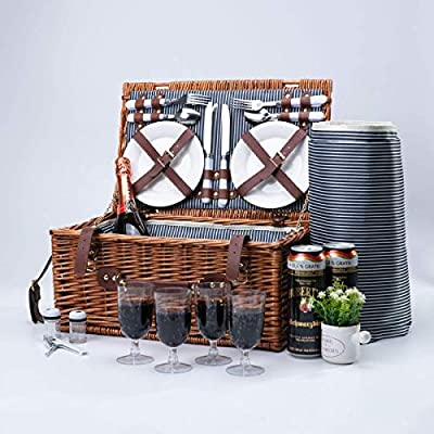 Arkmiido Retro Classic Wicker Picnic Baskets for 4, Picnic Set for 4,Willow Hamper Service Set with Waterproof Blanket for Camping and Outdoor Party