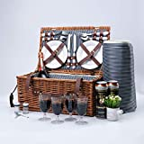 Arkmiido Willow Picnic Baskets Set for 4 Persons,Handmade Wicker Hamper Basket Service Sets with Insulated Cooler Compartment, Waterproof Blanket for Camping,Outdoor,Chirtmas,Thanks Giving,Birthday