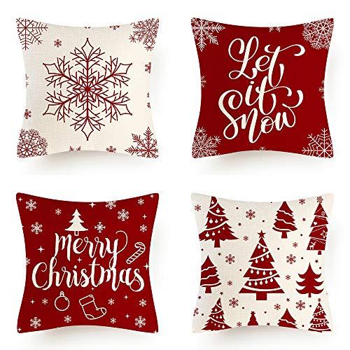 AMZQJD 4 Stück Kissenbezug Weihnachten weihnachtselementstile Muster Dekorative Kissenhülle Baumwolle Leinen Sie Kissenbezüge (Rot-03, 50 x 50 cm)