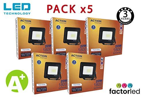 FactorLED ¡OFERTA! Pack x5 Foco LED 20W Negro Slim, Iluminación Exterior e Interior, Proyector Ultrafino IP65, Floodlight Decoración, [Eficiencia energética A+] (Luz Cálida (3000K))